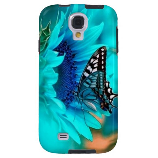 Flower & Butterfly Blue Galaxy 4 Cases Galaxy S4 Case