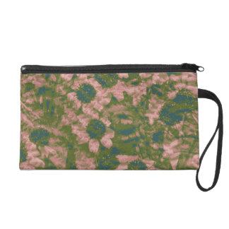 Flower camouflage pattern wristlet purse