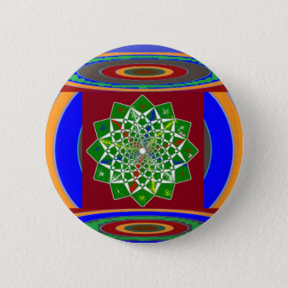 FLOWER CHAKRA Wheel Energy: Emerald Green 2 Inch Round Button
