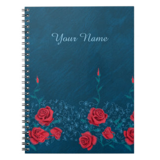 Flower chalk sketch roses hand drawing pattern spiral note book
