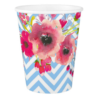 Flower chevron modern glamour elegant baby shower paper cup