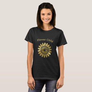 Flower Child Gold Floral Design T-Shirt