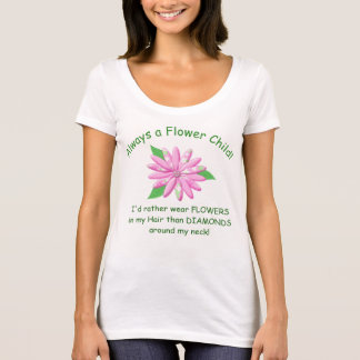 Flower Child Ladies T Shirt - Pink Calico Daisy