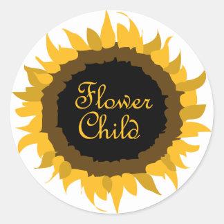 Flower Child Sunflower Classic Round Sticker