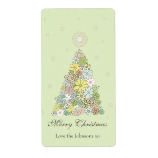 Flower Christmas Tree Gift Present Tag Label Shipping Label