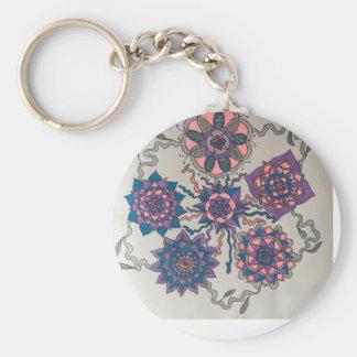 flower circus basic round button keychain
