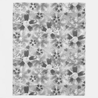 Flower Clown Pattern in Black Fleece Blanket
