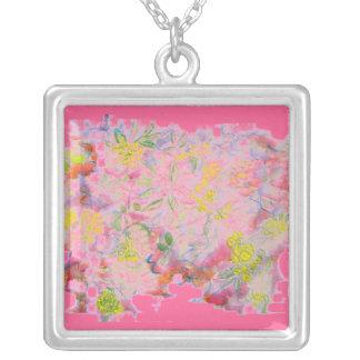 flower clusters pastel square pendant necklace