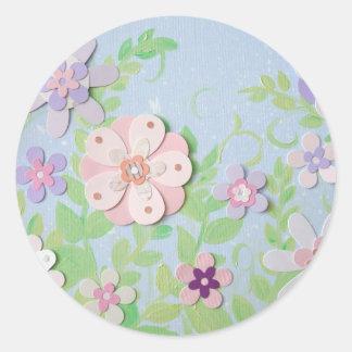flower collage classic round sticker