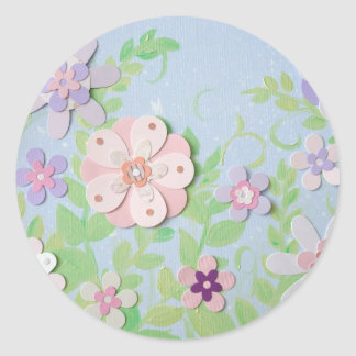 flower collage round sticker