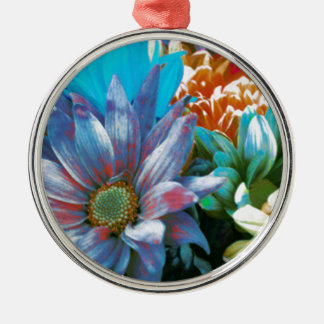 Flower Collage Silver-Colored Round Ornament