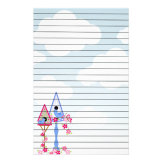 Flower Covered Bird Houses White Clouds Lined Customized Stationery