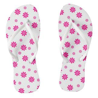 Flower covered flip flops for women