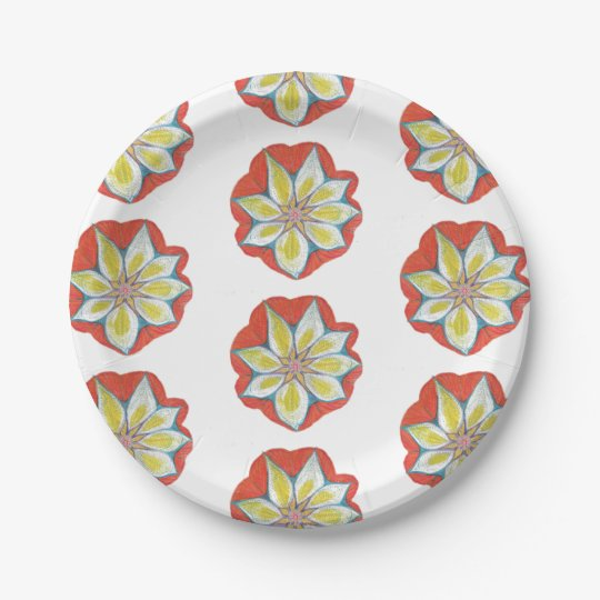 Flower Custom Paper Plates 7 in