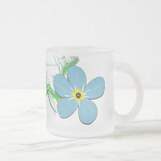 Flower Decor Frosted Glass Coffee Mug