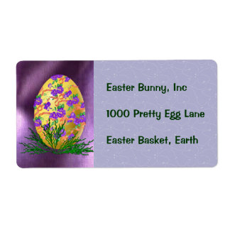 Flower Decorated Egg Shipping Label