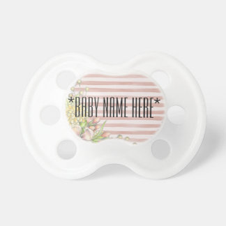 Flower design Baby name, text or initial Binky Pacifier