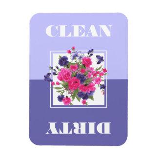 Flower Design Clean or Dirty Dishwasher Magnets