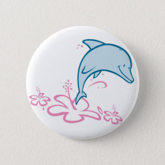 Flower Dolphin 2 Inch Round Button