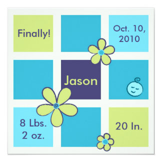 """Flower Doodles Baby Boy 5.25"""" Square Invitation Card"""