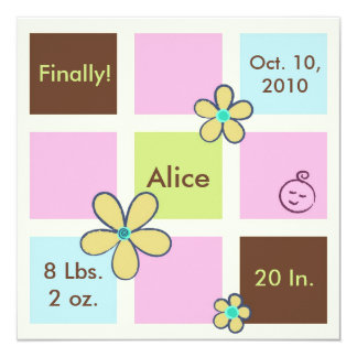 "Flower Doodles Baby Girl 5.25"" Square Invitation Card"