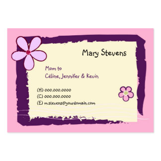 Flower Doodles Large Business Cards (Pack Of 100)