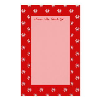 Flower Dot Red + Custom Color Personalized Stationery