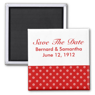 Flower Dot Red + Custom Color Square Magnet