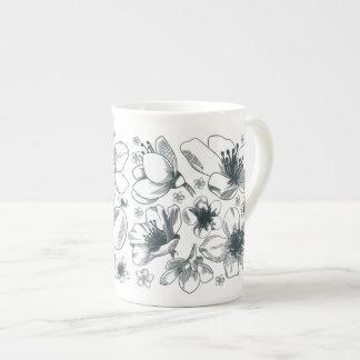 Flower Drawing on bone china mug