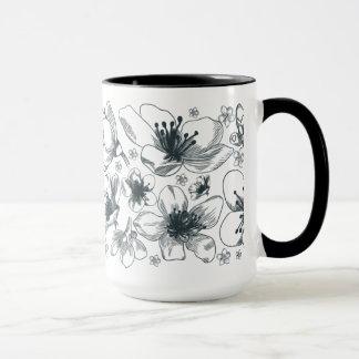 Flower Drawing on ringer mug