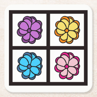 Flower Drawing Square Paper Coaster