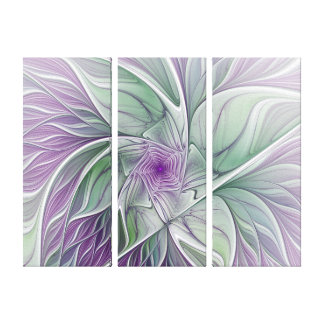 Flower Dream, Abstract Art Purple Green Triptych Canvas Print