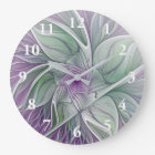 Flower Dream, Abstract Purple Green Fractal Art Large Clock
