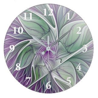 Flower Dream, Abstract Purple Green Fractal Art Large Clock
