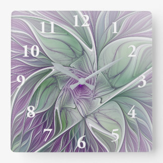 Flower Dream, Abstract Purple Green Fractal Art Square Wall Clock