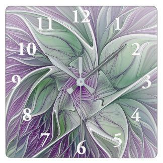 Flower Dream, Abstract Purple Green Fractal Art Wallclock