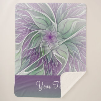 Flower Dream, Text, Abstract Purple Green Fractal Sherpa Blanket