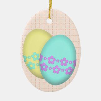 Flower Easter Egg Duo Ceramic Ornament