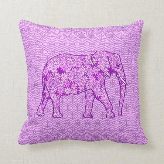 Flower elephant - amethyst purple throw pillow