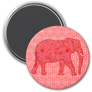 Flower elephant - deep red and coral 3 inch round magnet