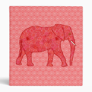 Flower elephant - deep red and coral binder