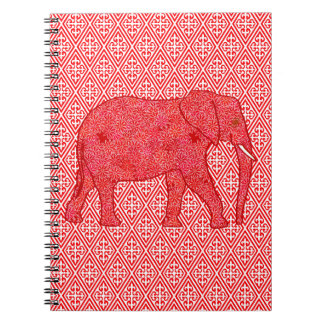 Flower elephant - deep red and coral note books