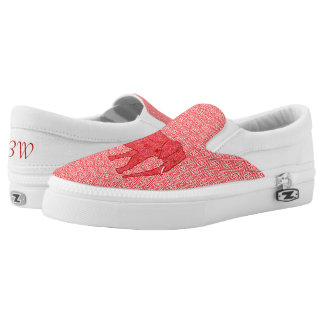 Flower elephant - deep red and coral Slip-On sneakers