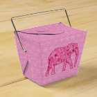 Flower elephant - fuchsia pink favor box