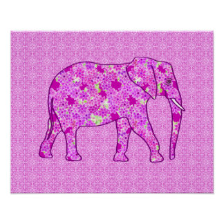Flower elephant - orchid and magenta poster