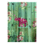 Flower Elephant Pink Sakura Green Striped Wood Poster