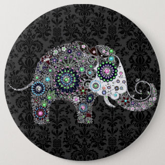 Flower Elephant With Colorful Diamond Studs 6 Inch Round Button