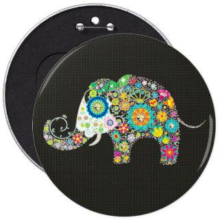 Flower Elephant With Diamond Studs 6 Inch Round Button