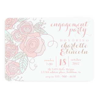 Flower engagement party invitation