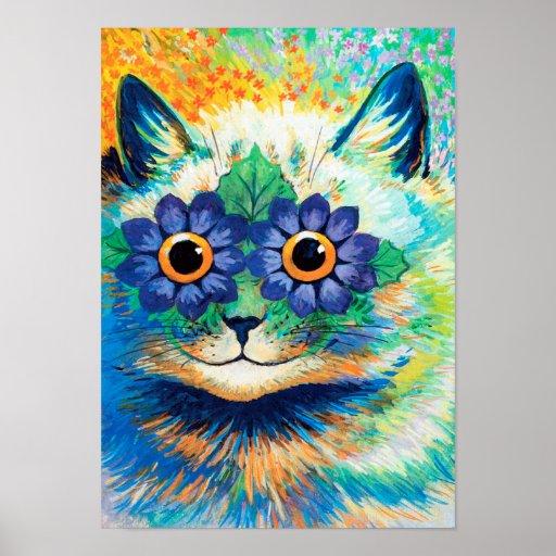 Flower Eyes Cat, Louis Wain Poster